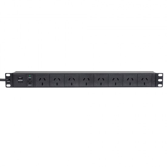 8-Way Horizontal AU Power Rail with 10A Plug - 1RU